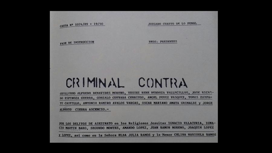 Portada de una pieza del expediente judicial No. 1074/89 + 19/90 del Juzgado Cuarto de lo Penal de San Salvador, hoy Cuarto de Instrucción.