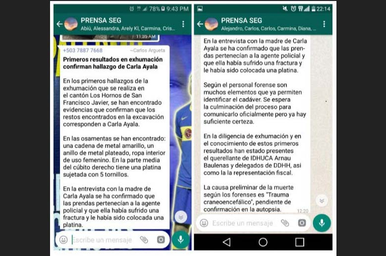 Capturas de pantallas del mensaje que al mediodía del 7 de septiembre anterior, circuló en el grupo Prensa Seg en el que se revelaba detalles sobre los restos de Carla Ayala y que fueron atribuidos a la Policía.