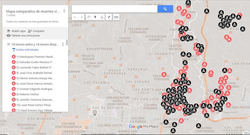 Este mapa detalla la identidad de cada una de las víctimas de asesinatos ocurridos 18 meses antes de que fuera lanzado el Plan El Salvador Seguro en Ciudad Delgado, y 18 meses después. La cifra aumentó.