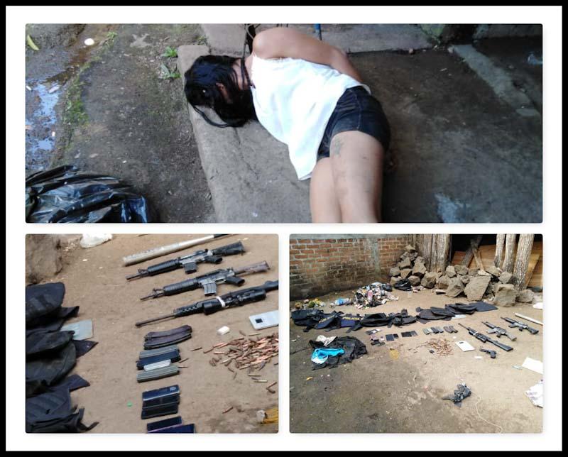 Una mujer, supuesta pandillera, fue arrestada esta tarde, cuando la policía sorprendió a un grupo de mareros cerca de la colonia Ciudad Real, en San Sebastián Salitrillo, decomisándoles varias armas de guerra y otros pertrechos policiales.