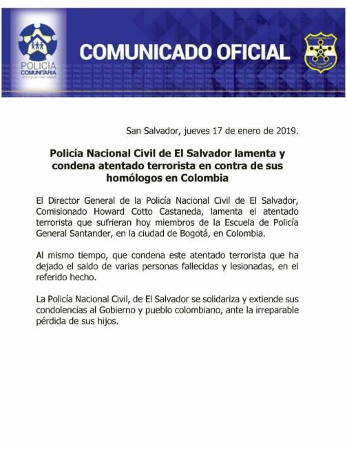 Comunicado por el que ha sido criticada la cúpula policial en el sentido de que no se pronuncia condenando el asesinato de policías salvadoreños.
