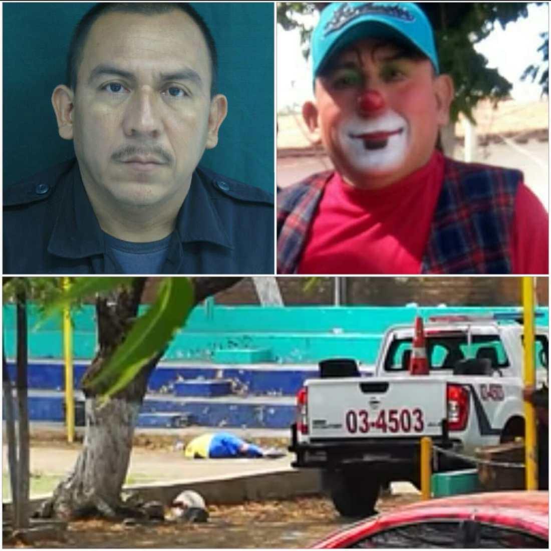 Pedro Alberto Galeas Crespo, el sargento de la Policía Nacional Civil asesinado esta mañana en San Miguel. A la derecha aparece cuando se vestía de payaso como parte de su trabajo en las comunidades.